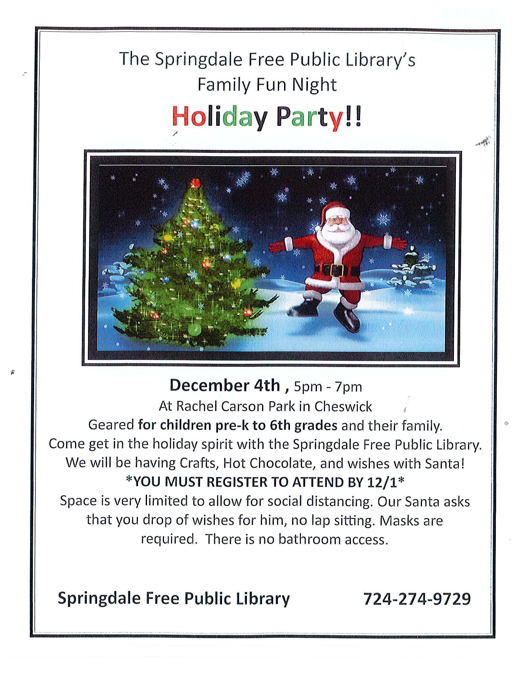 **CANCELED** DUE TO THE RISE IN COVID-19 CASES-Family Fun Night- Holiday Party   *Registration Required* 724-274-9729