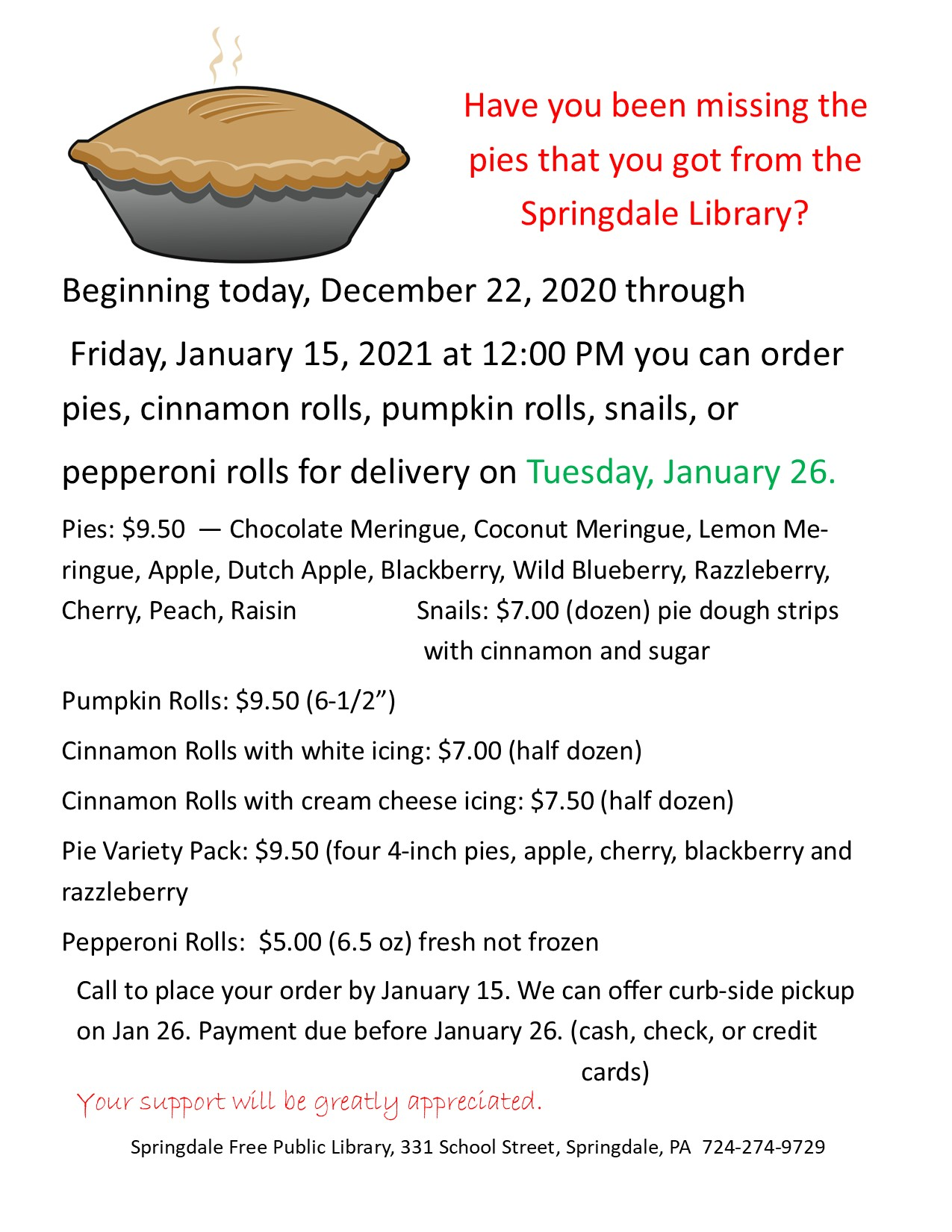 Pie Sale–Support your Springdale Library