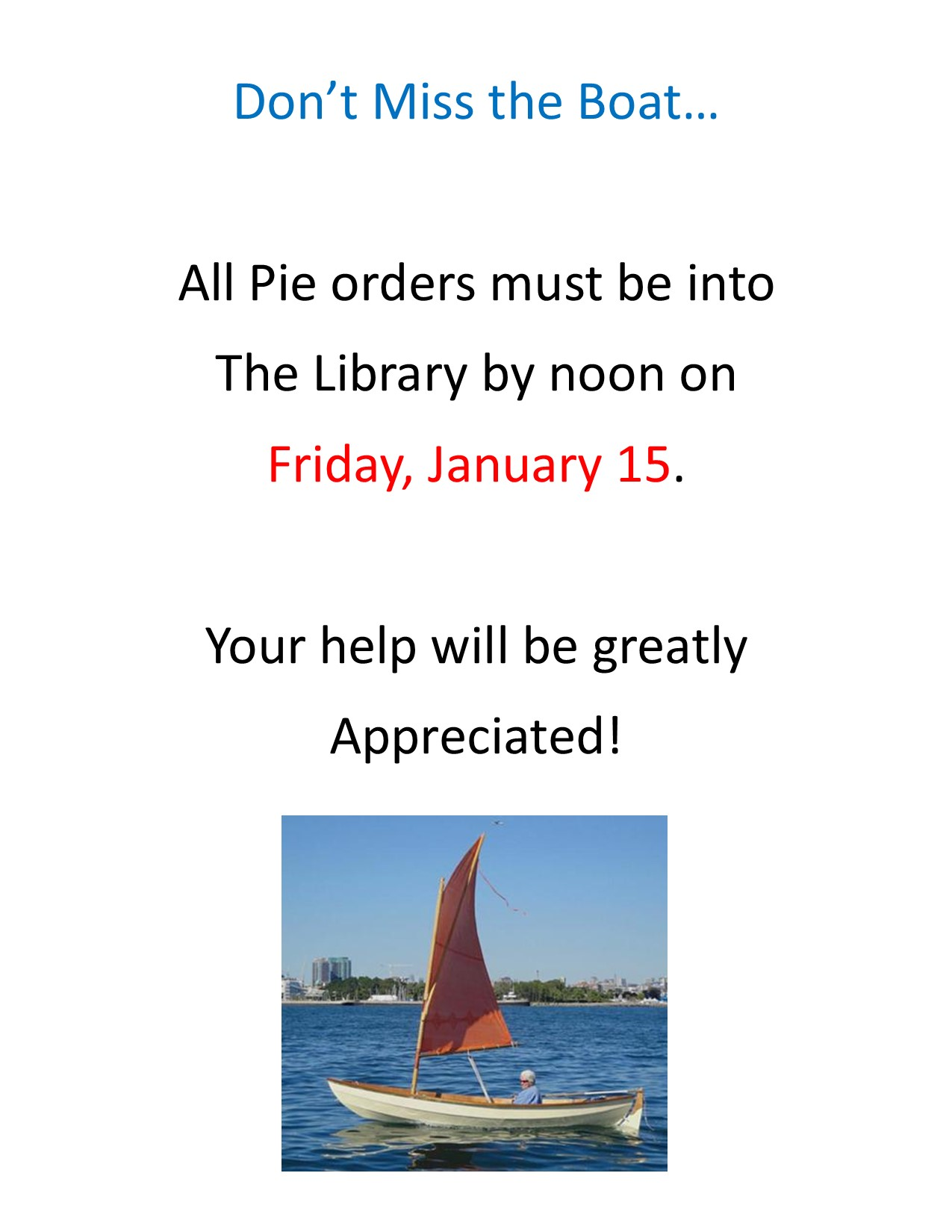Pie Orders Due Friday, 1/15