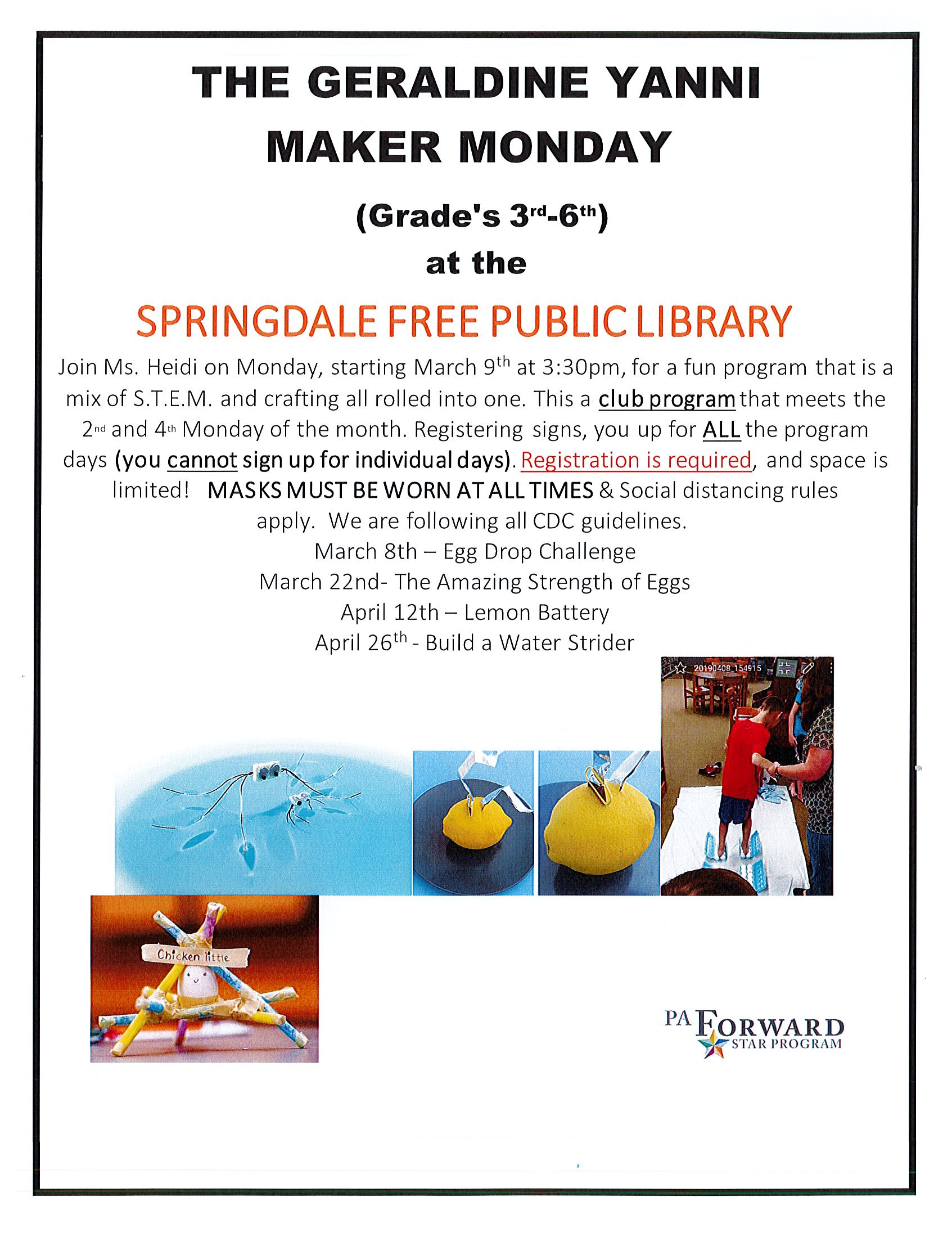 Maker Monday Starting back in March!!