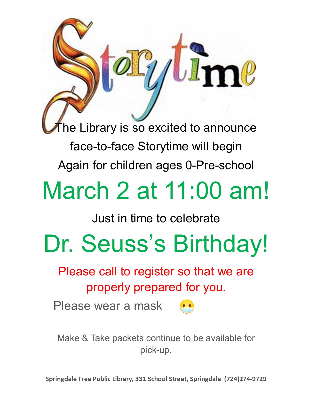 Storytime Returns in March