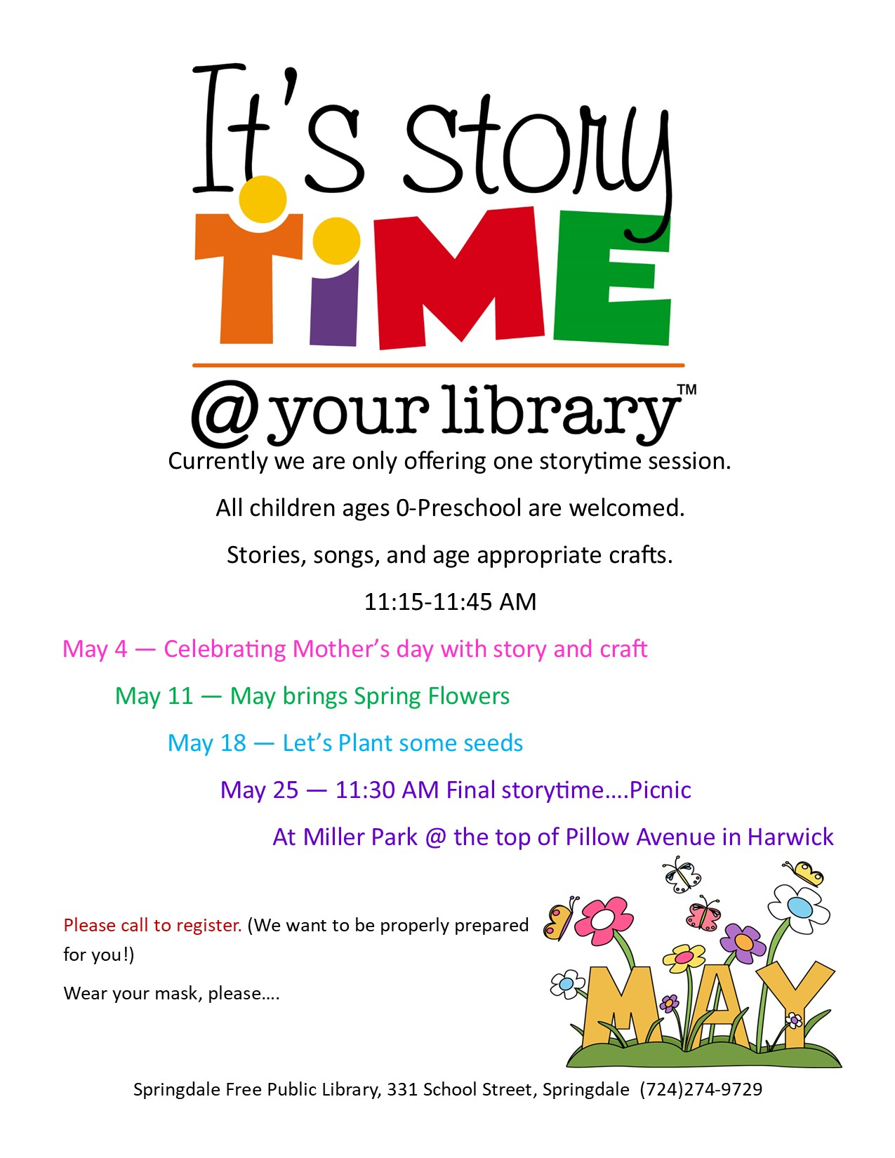 Storytimes in May