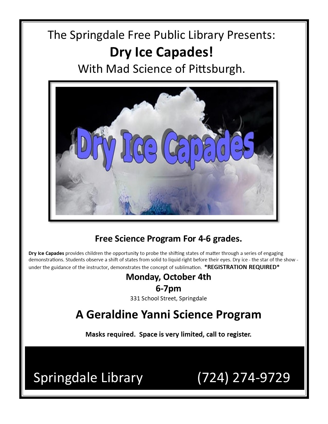Gerladine Yanni Science Programs are back!